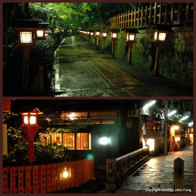 "Night scene in Kyoto. The lower one is most ""romantic"" bridge in Gion where Geisha walk to teahouses."
